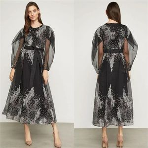 BCBGMAXAZRIA Embroidered Midi Evening Dress Blk 4